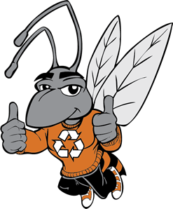 Hamo the Hornet wearing a recycling logo on his shirt